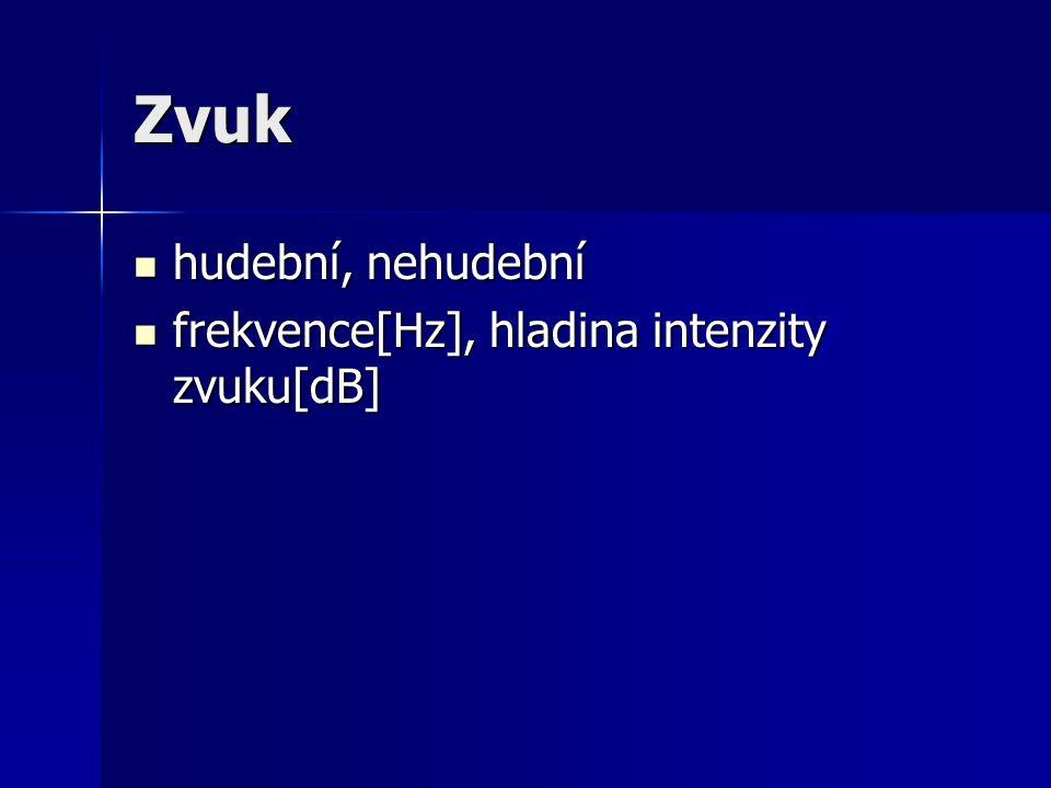 Zvuk hudební, nehudební frekvence[Hz], hladina intenzity zvuku[dB]